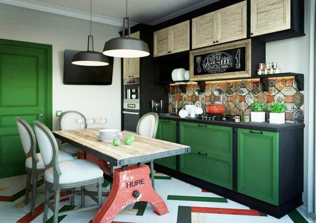 Сочетания зеленого с охристым, цветом ржавчины, терракотой - естественны и потому беспроигрышны во многих стилях