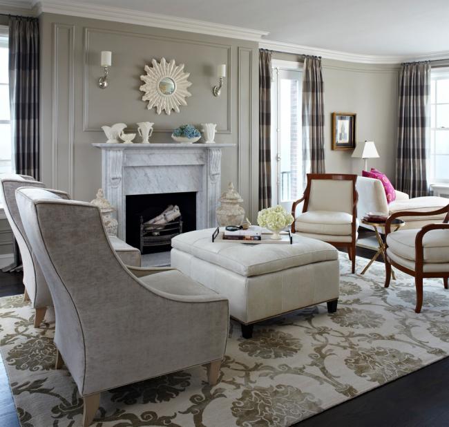 Красивый дизайн гостиной, оформленный в серых тонах