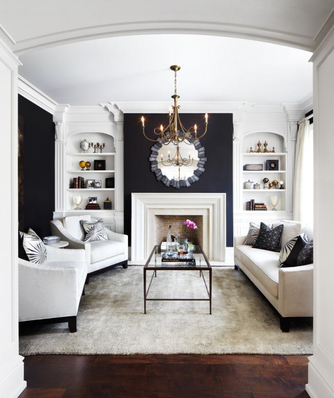Черно-белый интерьер очень характерен для классического стиля