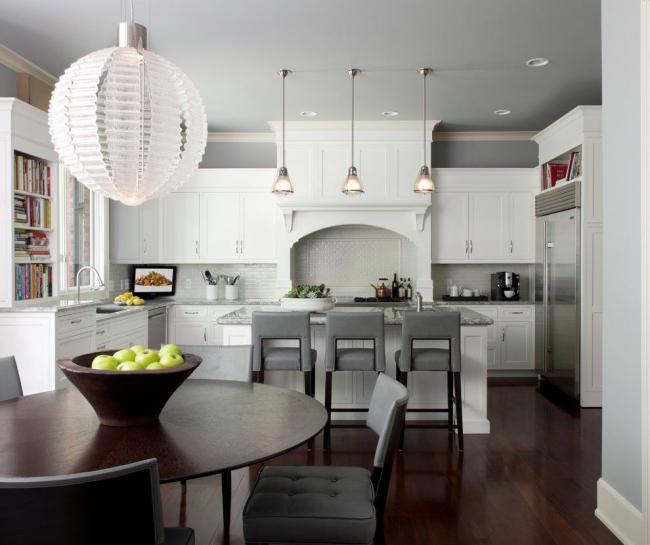 Традиционная американская кухня графической серо-белой цветовой гаммы