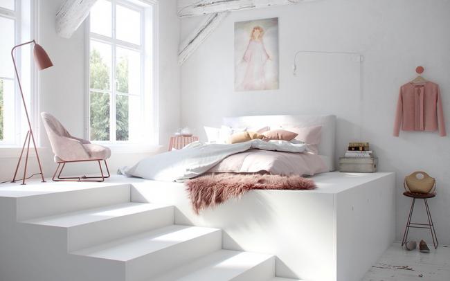 Романтический образ спальни в бело-розовых красках