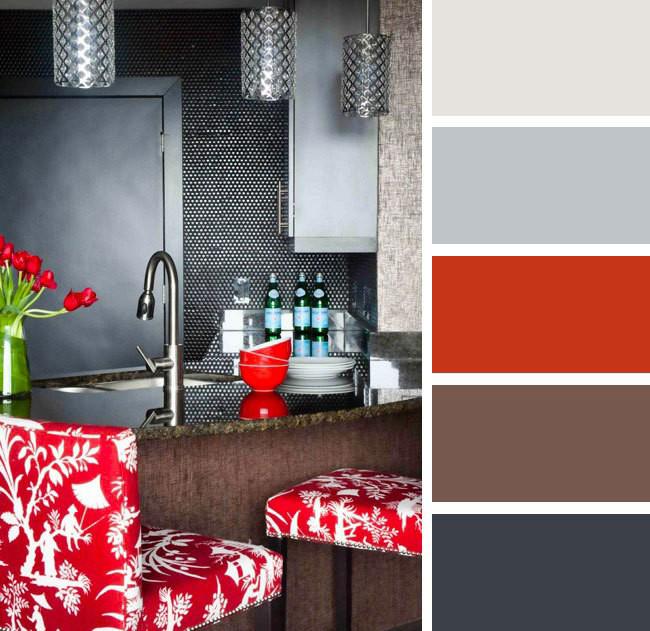 Элементы декора красного цвета не станут перегружать интерьер