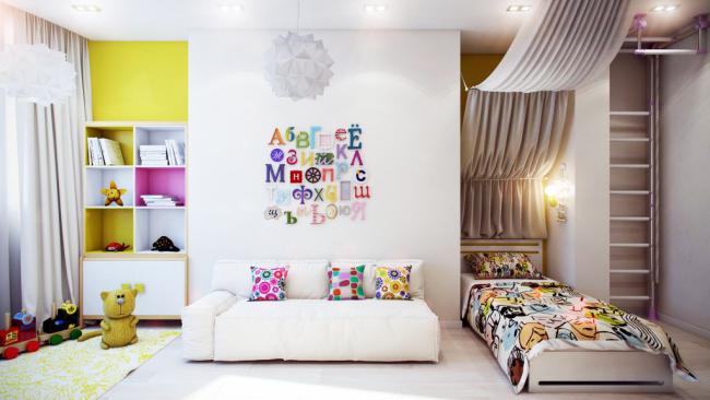 Грамотное оформление спальной, игровой и рабочей зон в одном помещение