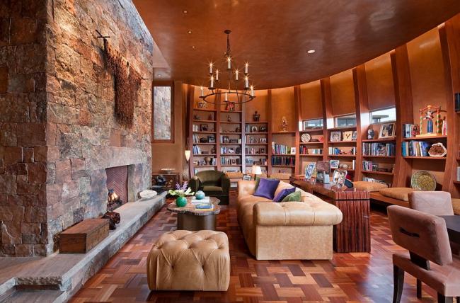 Шикарная гостиная с большим количеством дерева