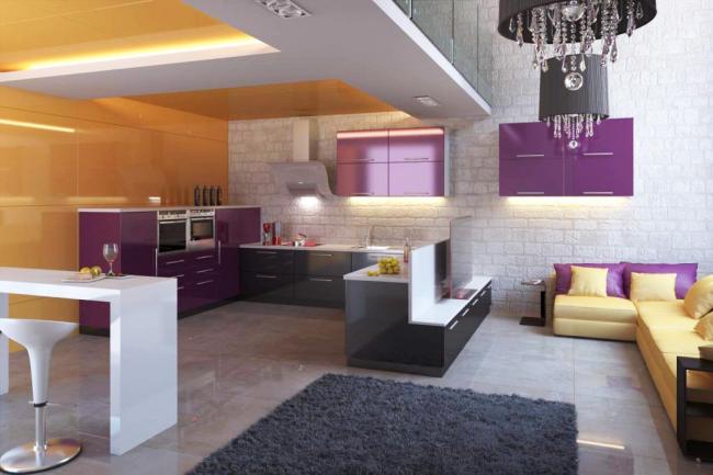 Глубокий фиолетовый с томным желтым в кухне в стиле лофт - стильно, ярко, неординарно