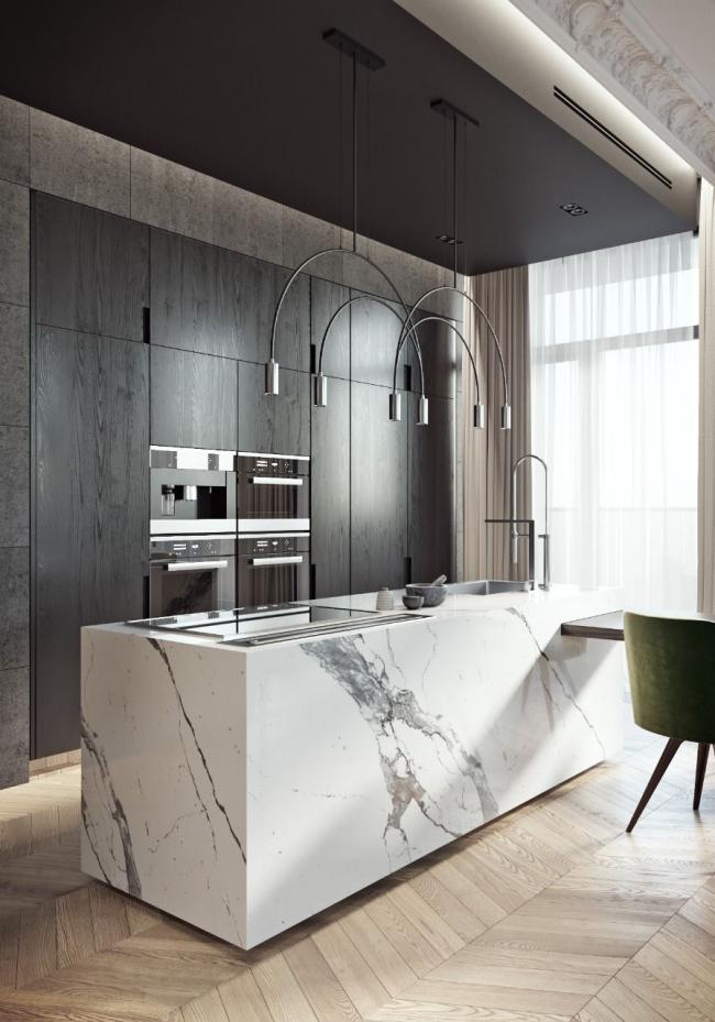 Современный дизайн кухонного гарнитура из природных материалов