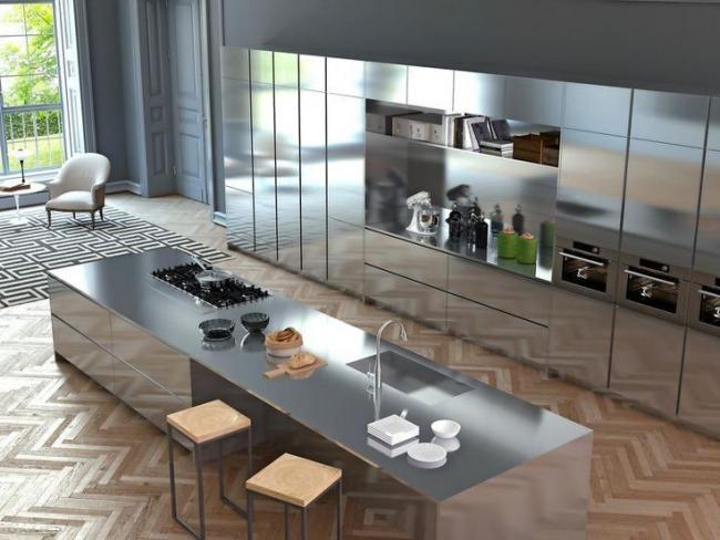 Множество деталей, строгий порядок металлических предметов кухонной утвари придают интерьеру в стиле техно гармоничности