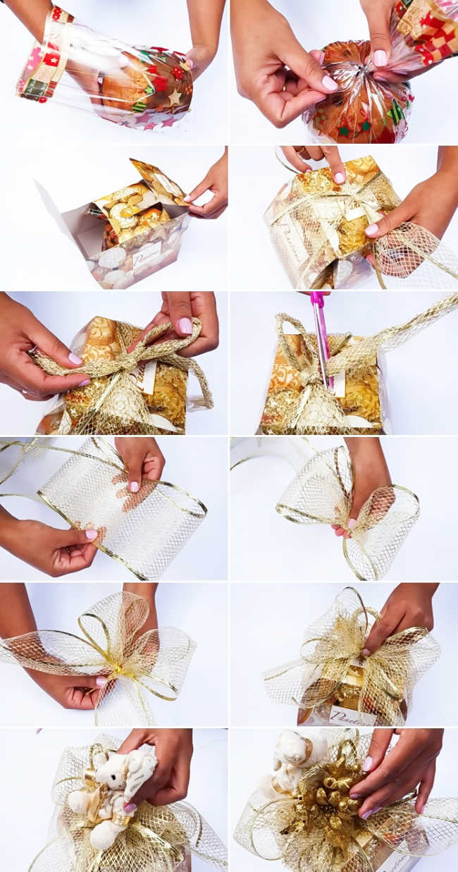 Украшаем подарок с помощью сетки