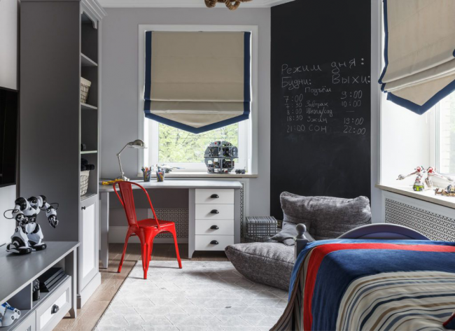 Стильный и очень удобный интерьер детской комнаты