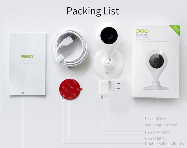 Комплектация камеры 360 Smart WiFi IP Camera 720P HD