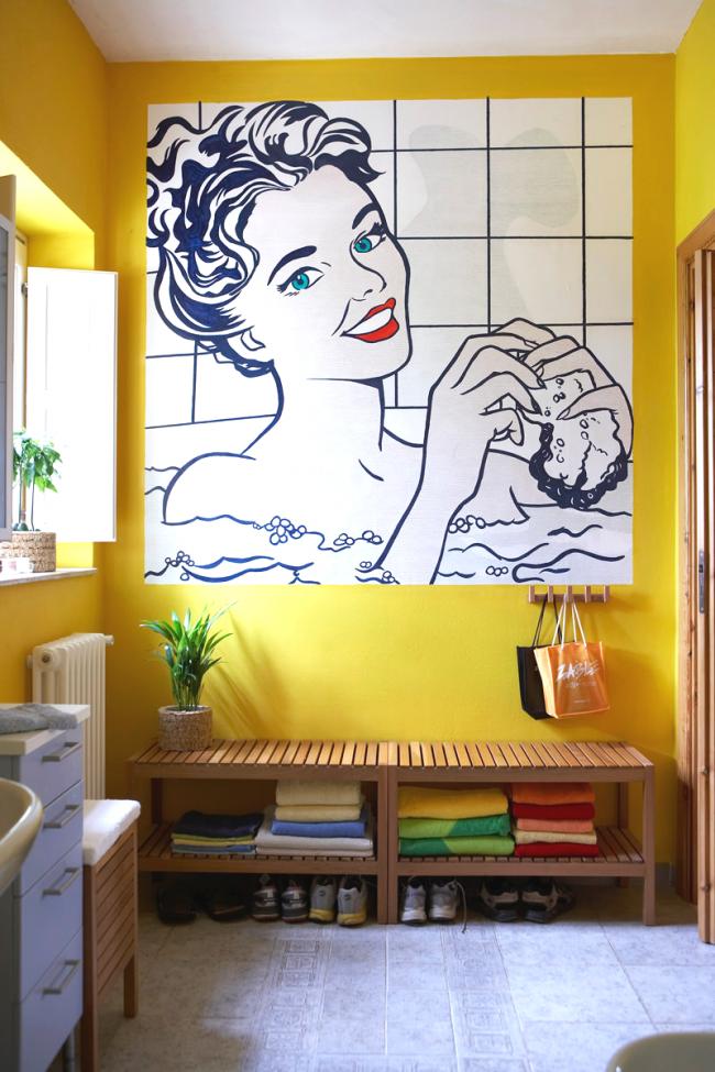 В ванной комнате тоже может быть уместен стиль поп-арт