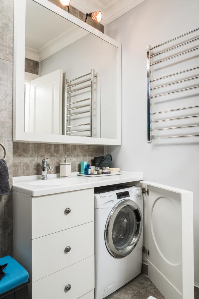 Умывальник с тумбой, в которой можно разместить стиральную машину