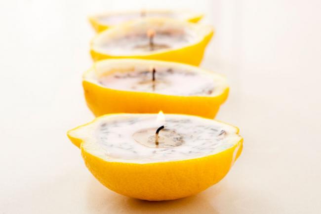 Оригинальная лимонная свеча