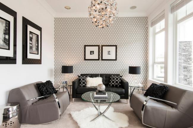 Монохромный интерьер гостиной в стиле современная классика