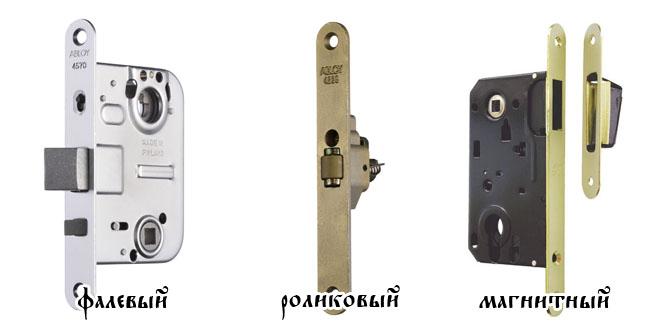 Самые популярные три типа защелок для межкомнатных дверей: роликовые, фалевые, магнитные