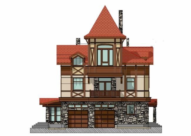 Проект дома-замка с двумя гаражами