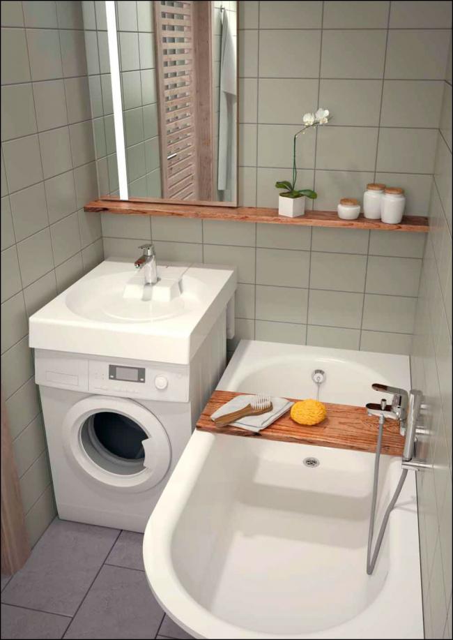 Удобное расположение умывальника над стиральной машиной в небольшой ванной комнате