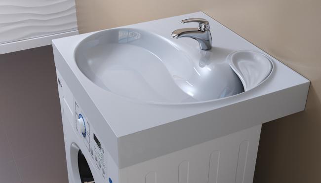 Симпатичная раковина для стиральной машины с дальним сливом под мыльницей
