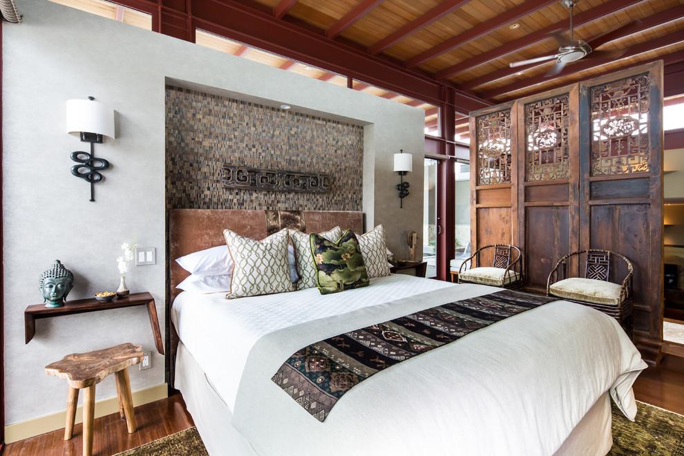 Гармоничный интерьер спальни, оформленной в восточном стиле