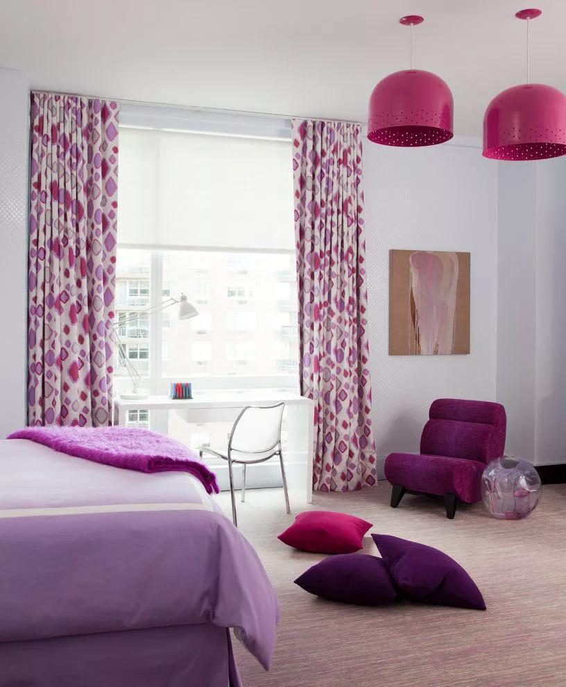 Фиолетовые шторы в интерьере 60 идей применения и выбора оттенков