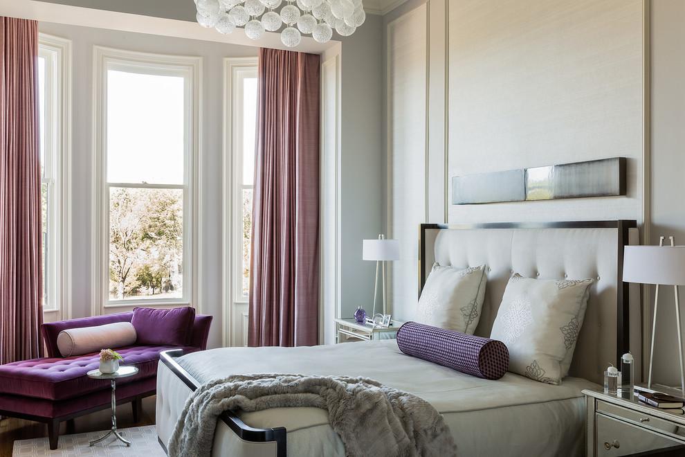 Красивая спальня с дизайном в стиле современная классика