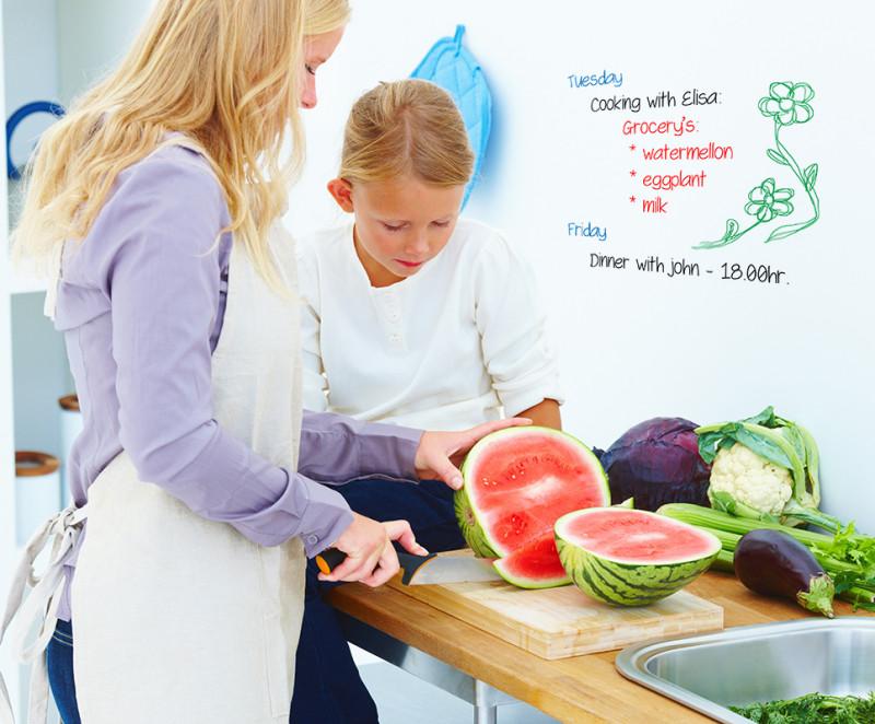 Маркерная краска на кухонной стене позволит записывать различные заметки и рецепты