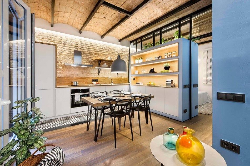Оригинальный дизайн кухни в стиле лофт