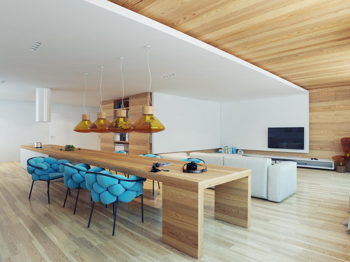Синие акценты в светлом интерьере кухни, совмещенной с гостиной