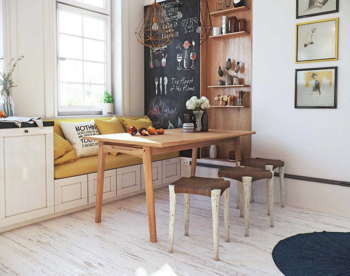 Для оформления интерьера скандинавского стиля лучше выбирать мебель из натурального дерева