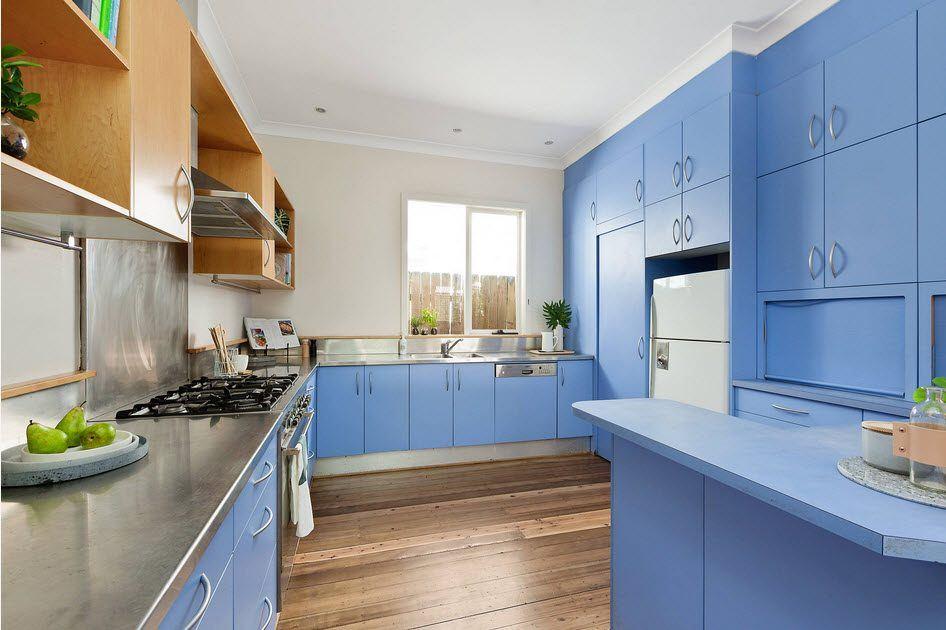 Скандинавский стиль в оформлении бело-голубой кухни