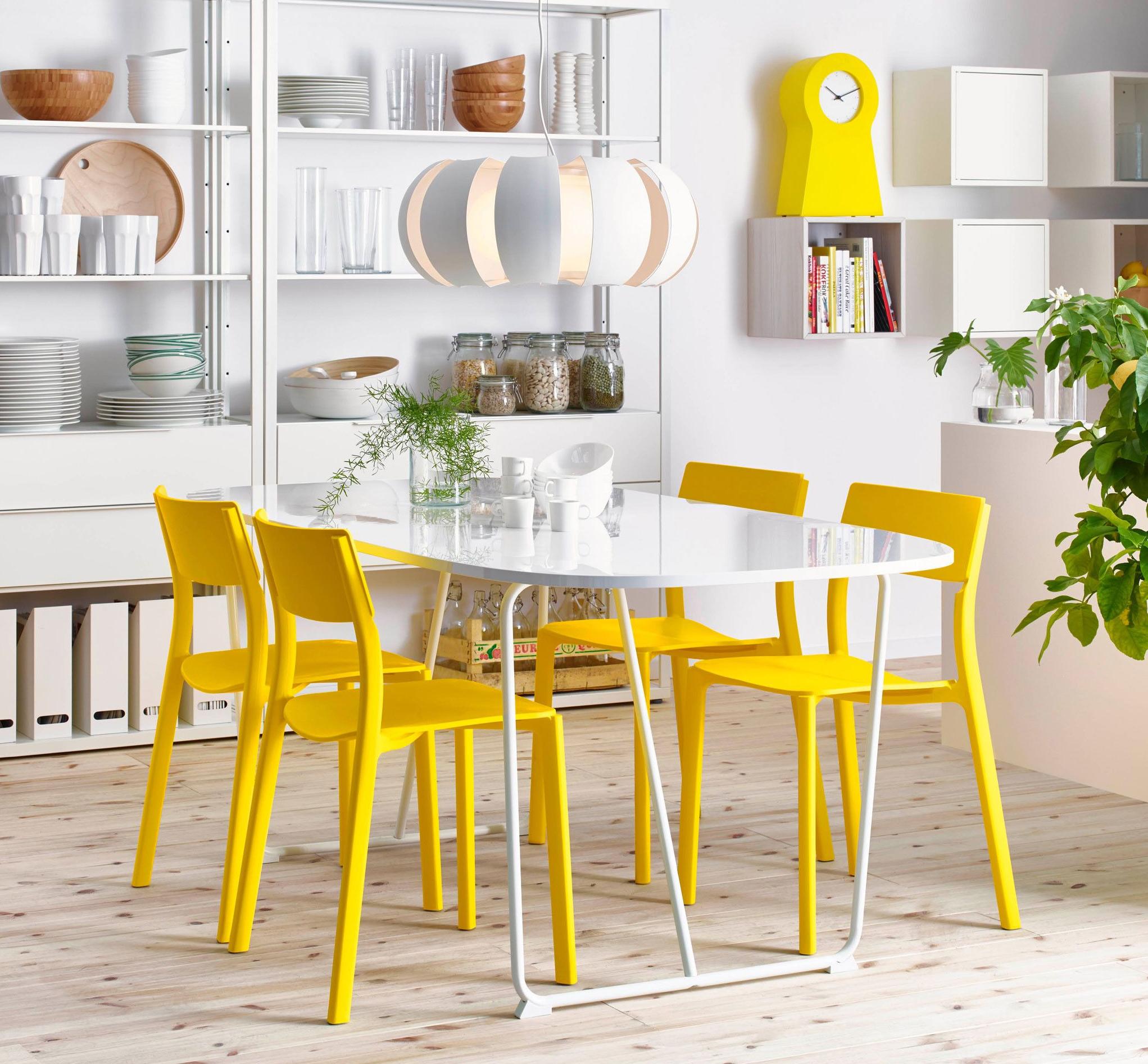 Прямоугольный стол IKEA из белого пластика со скругленными краями