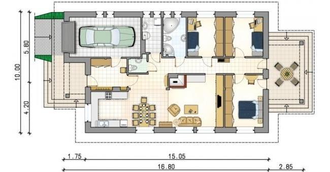 Схематический чертеж одноэтажного дома с гаражом и тремя спальнями