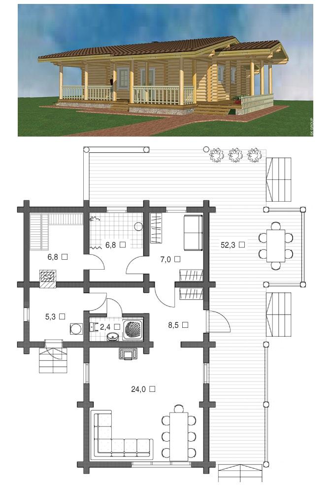 Рис. 8. Проект бани с огибающим расположением террасы