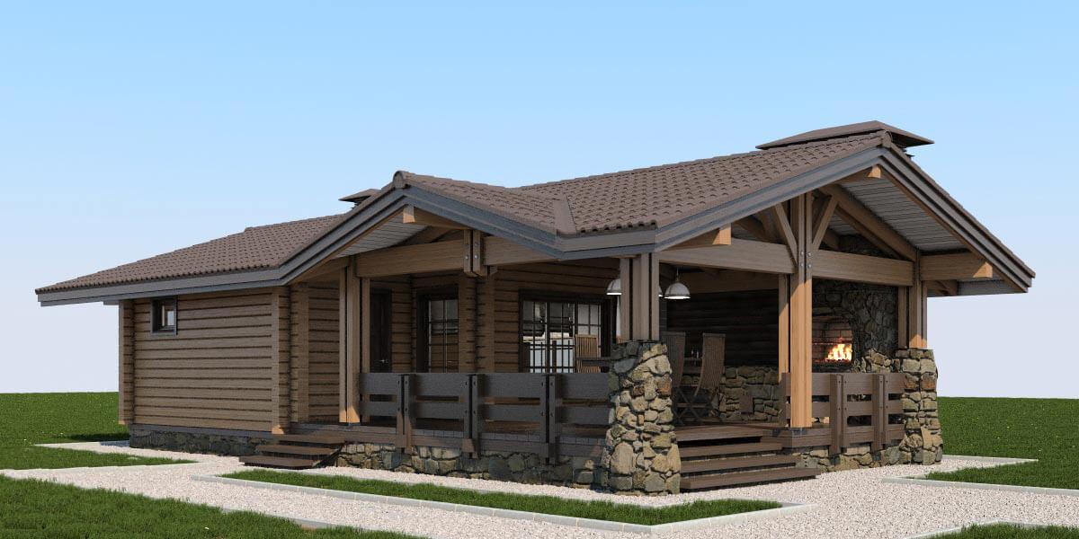 Проект деревянной бани с каменной террасой