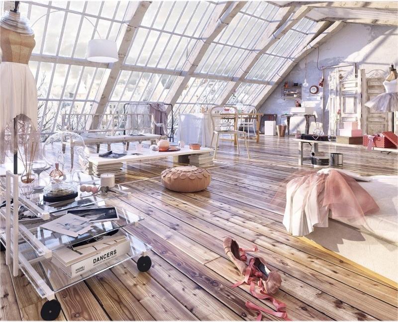 Мансардный этаж с панорамными деревянными окнами