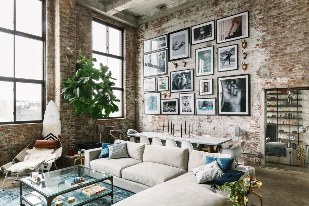 Лаконичный дизайн гостиной в стиле лофт