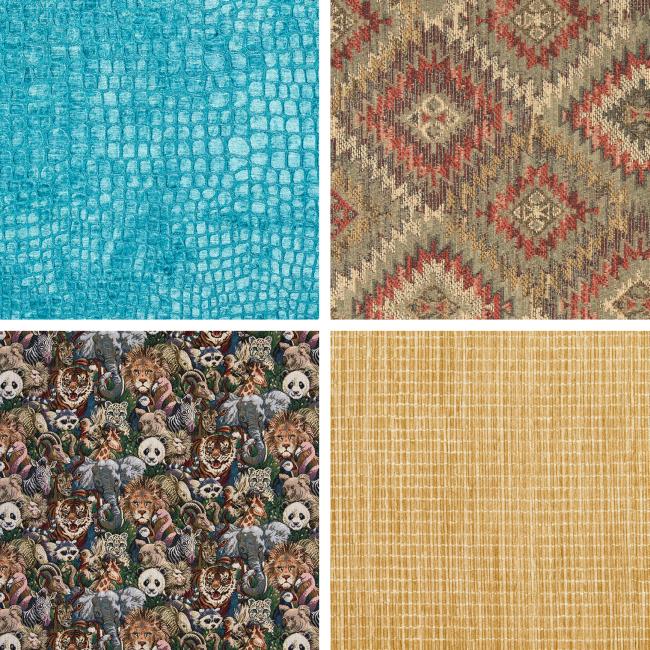 Современная текстильная промышленность предлагает самые невероятные сочетания фактур и расцветок - гобелен с персонажами комиксов, неоновая имитация кожи рептилий, органическое бамбуковое волокно, и все прочее, что только угодно