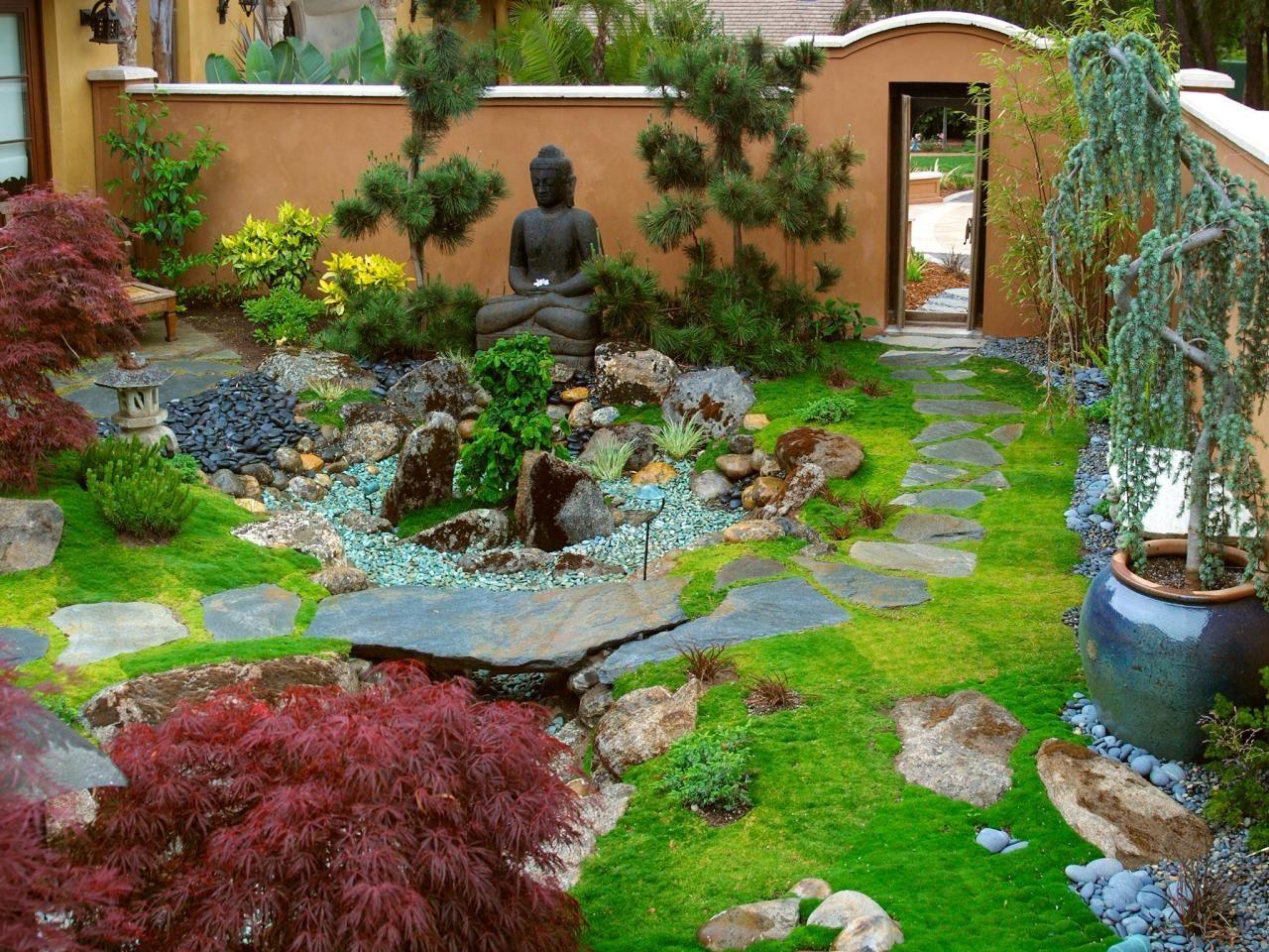 Японский стиль оформления сада, отображенный на небольшом участке