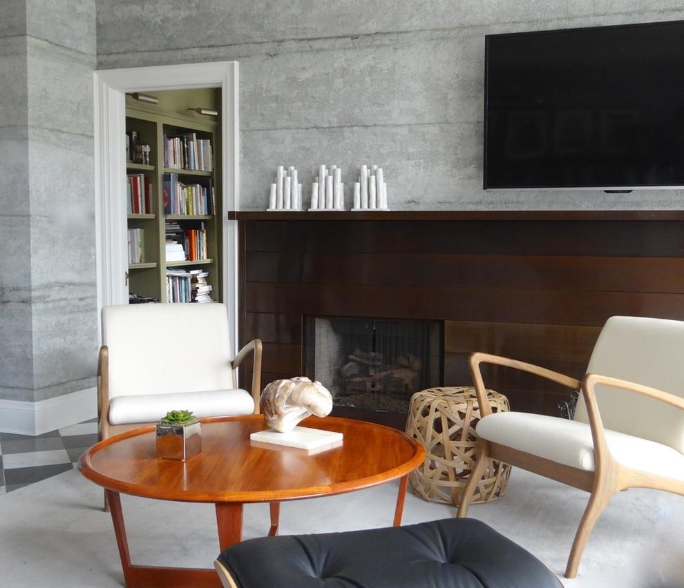 Очень реалистичные обои под бетон в гостиной. Элементы скандинавского стиля придают комнате уютную атмосферу