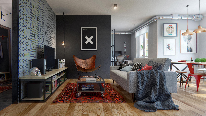 Современный интерьер с применением светлого ламината в просторной квартире-студии