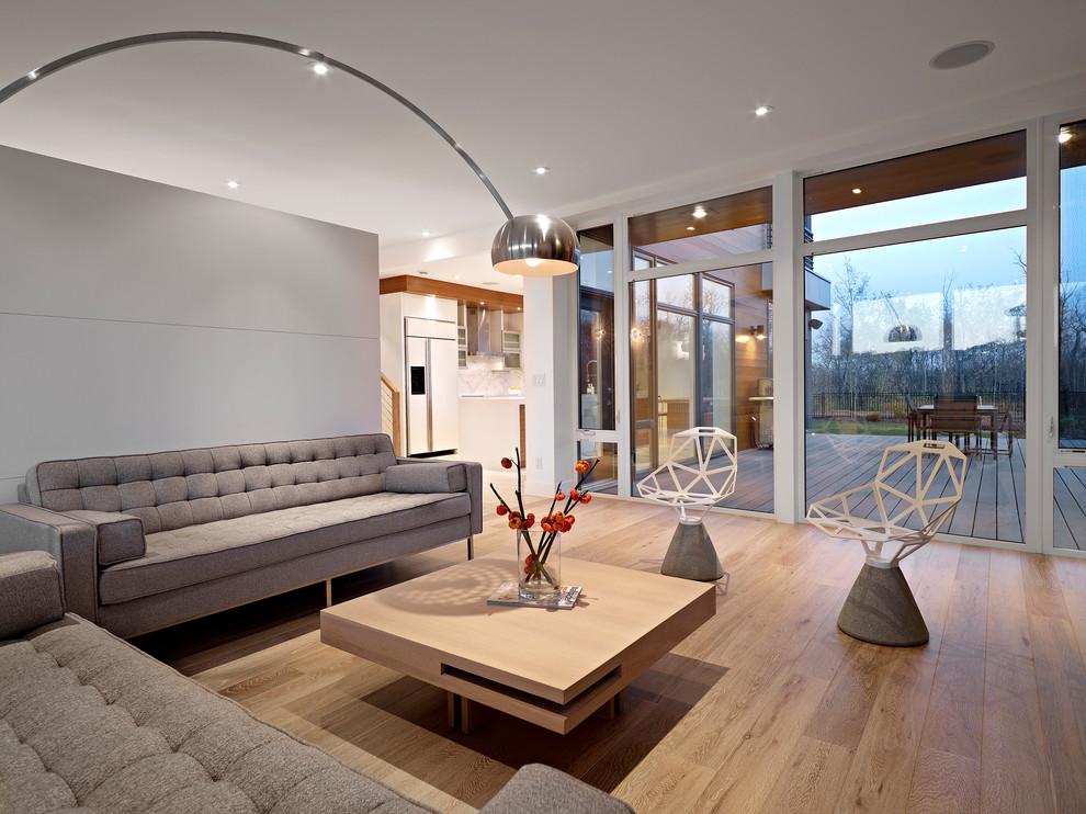 Стильная гостиная частного дома с ламинатом из светлых пород дерева