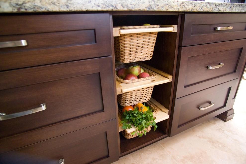 Плетеные ящики на кухне - для хранения овощей и других продуктов
