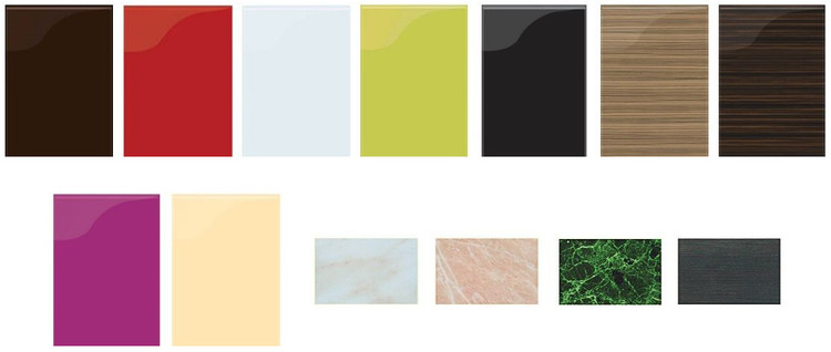 Самые востребованные и трендовые цвета фасадов готовых фабричных кухонь: мокко, черри, белый, олива, черный, зебрано. Также популярны пурпур и беж. Среди цветов столешниц неизменно пользуются популярностью имитации природных минералов