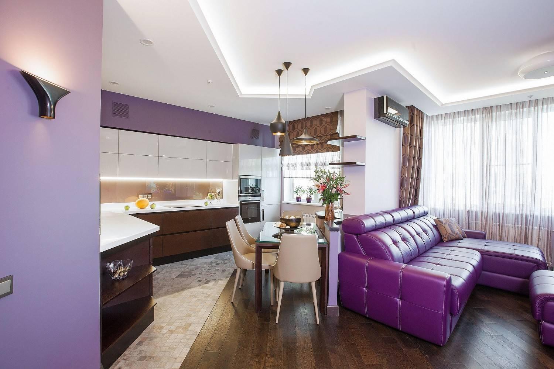 Кухня-гостиная, оформленная в пастельных тонах