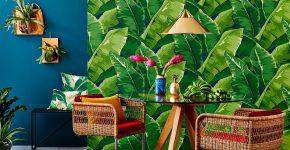 Тропики в интерьере с плетеными стульями
